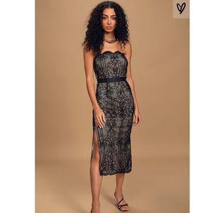 BNWT Lulus Black Crochet Lace Strapless Midi Dress